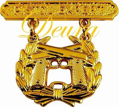 USMC US Marine Corps PISTOL QUALIFICATION EXPERT Shooting Badge Pin Gold Plated - Marine Corps Shooting