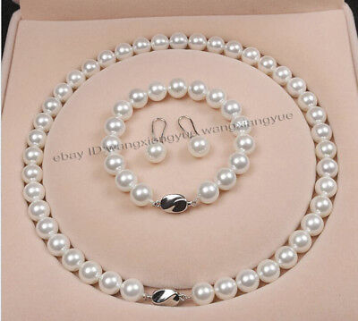 8mm 10mm 12mm White Akoya Shell Pearl Round Beads Necklace Bracelet Earrings AAA ()