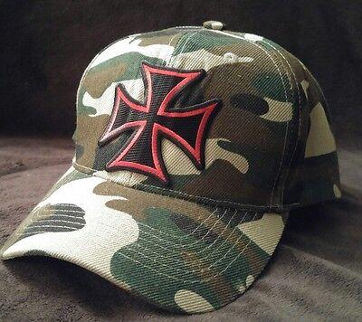 Iron Cross Hat (RED IRON CROSS Camouflage Baseball Red Gothic Iron Cross Camo Hat)