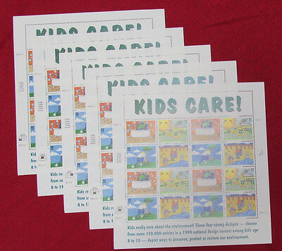 Five Sheets x 16 = 80 EARTH DAY KIDS CARE! 32¢ US Postage Stamps. Sc # 2951-2954
