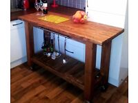 CHUNKY RUSTIC SOLID WOOD LARGE KITCHEN ISLAND / TROLLEY