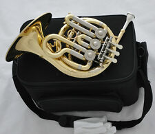 Sale Top Brand New Gold Piccolo MiNi French Horn Bb Key Engraving Bell With Case