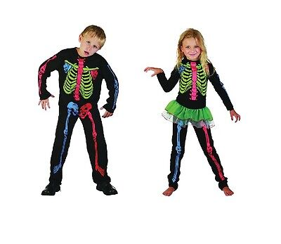 Child Multi Colour #Skeleton #Costume For Boys And Girls Halloween Fancy Dress