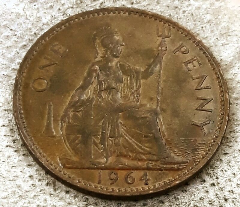 1964 Large Penny, Large Cent UK,  BRITISH  KM# 897 PENNY Great Britain, 1 coin