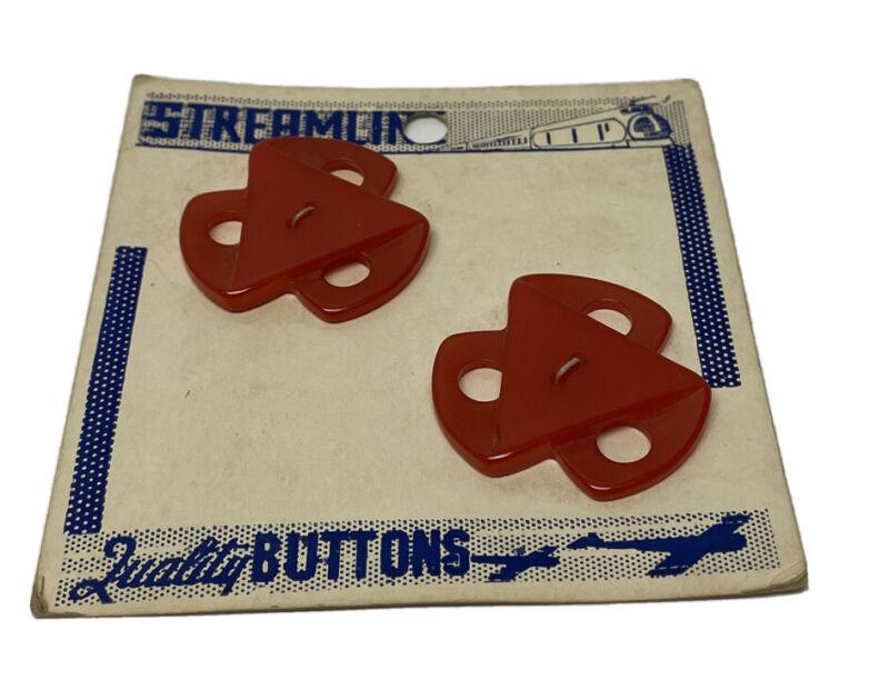 Lot 2 Streamline Red Geometric Triangle Windmill Bakelite Buttons