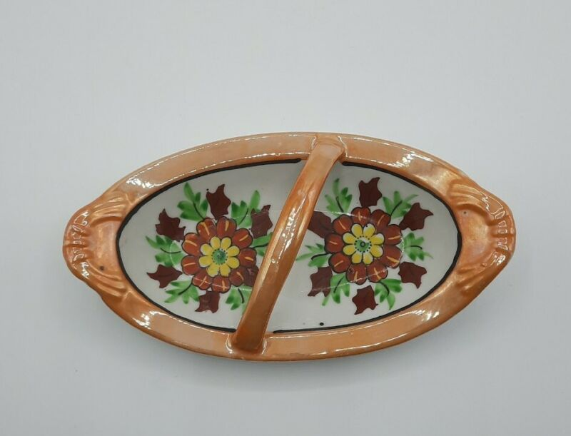 Vintage Orange Lusterware Dish with Handle Hand Painted Japan Flowers