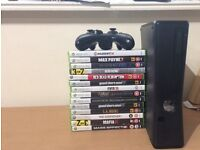 Xbox360 Elite 500GB, One Controller, Wireless Adaptor and Games as shown.