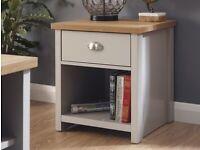 GFW Lancaster Grey & Oak 1 Drawer Lamp Table