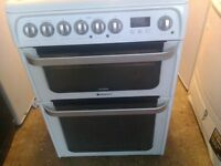 HOTPOINT 60 CM ELECTRIC DOUBLE OVEN COOKER CERAMIC TOP
