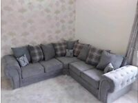 EXPRESS DELIVERY LARGE VERONA CHESTERFIELD CORNER/3+2 SEATER SOFA | FINANCE AVAILABLE | SWIVEL CHAIR