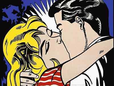 POP ART PRINT - Kiss II, 1962 by Roy Lichtenstein Offset Lithograph Poster 12x16