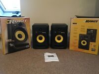 PAIR KRK Rokit 6- RP6 G3 Active Monitors including all cables (Black)
