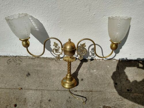 VINTAGE CHANDELIER WITH GLASS SCALLOPED SHADES