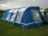 6-man, blue polycotton Holkham Kampa tent with integral porch. VGC. Very spacious