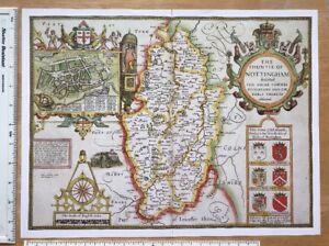 Old Tudor map of Nottinghamshire Inc Nottingham: Speed 1600's 15