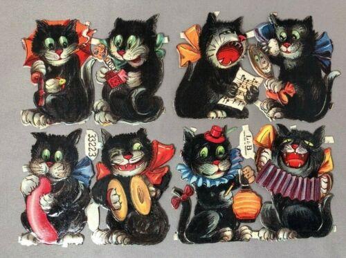 c 1910 HALLOWEEN Black CAT Littauer Boysen L&B German Die Cut Scrap Antique