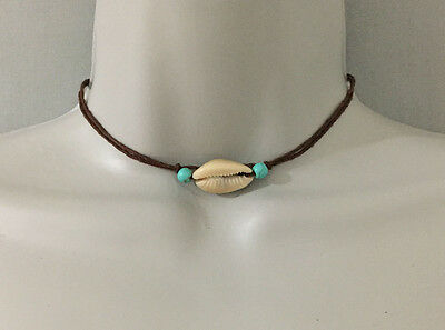 Beach Surfer Cowrie Shell Turquoise Beads on Dark Brown Cord Choker Necklace