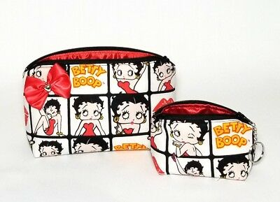 Betty Boop Gift Bag - Betty Boop makeup bag coin purse keychain. Gift set. Bow. Red. Brush holder