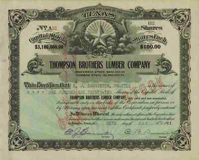 Thompson Brothers Lumber Company 1911 Houston Texas Willard Douchette Grayburg