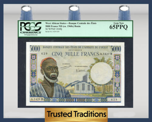 Tt Pk 204bj 1960s West African States 5000 Francs Pcgs 65 Ppq Gem New!