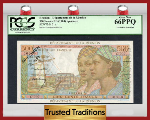 "Tt Pk 51s 1964 Reunion 500 Francs Pcgs 66 Ppq Gem None Finer ""a One Of A Kind""!"