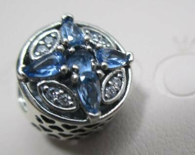 Genuine Pandora Silver Charm Patterns of Frost Blue Winter Snowflake Crystal CZ Crystal Snowflake Charm