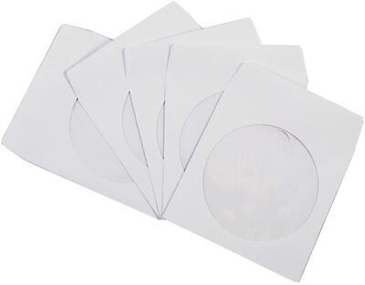 100 Pack Maxtek Premium Thick White Paper Cd Dvd Sleeves Envelope With Window...