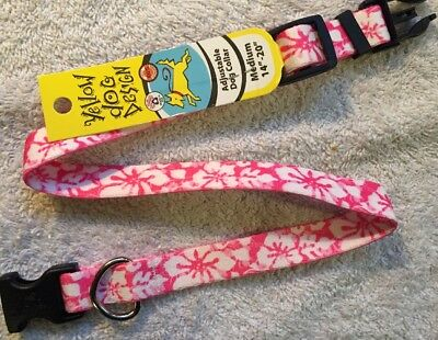 Pink Island Floral Adjustable Medium Dog Collar (14