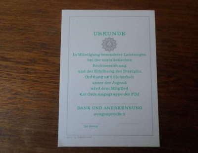 DDR Urkunde der Volkspolizei für FDJ (mit abgeb. Polizei-Emblem / Polizeistern )