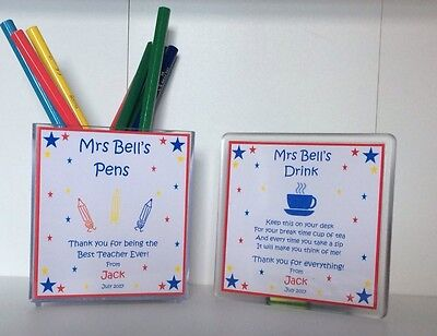 Personalised Teacher Pen Pot and Coaster - Thank You End of Term Gift