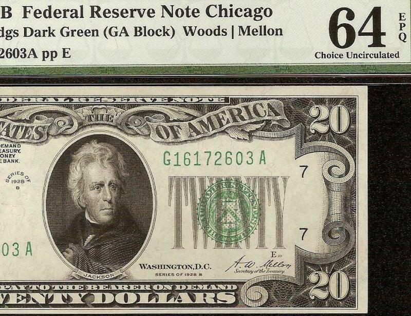UNC 1928 B $20 DOLLAR BILL DARK GREEN SEAL NOTE GOLD ON DEMAND FRN PMG 64 EPQ