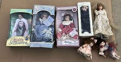 Victorian Porcelain Doll Lot Jointed Pretty Women Vintage Collection