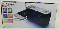 Emerson CKS1507 Smart Set Radio Alarm Clock USB charging bluetooth night light
