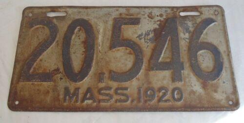 1920 Massachusetts License Plate Tag 20546