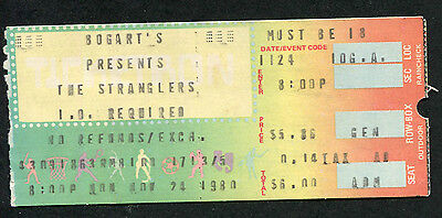 Original 1980 The Stranglers Concert Ticket Stub Bogart's Punk The Raven