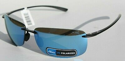 HOBIE Rips POLARIZED Sunglasses Satin Black/Cobalt Blue Mirror NEW Fishing/Water
