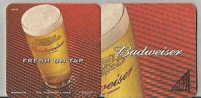 """Budweiser UK Beer Coaster 3.5"""" x 3.5"""" square  two different sides of artwork"""