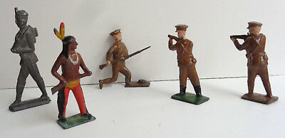 Lot of 5 Antique Hand Painted Metal Toy Soldiers and Indian
