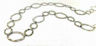 Fancy Hammered Long Link Chain Necklace in Silver Plating - NEW  - Long Hammered Link Necklace