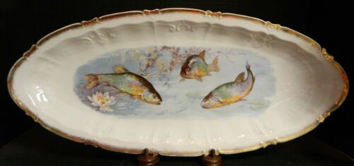 "Antique Embossed Victoria Carlsbad Fish Platter Gold Trim 21.5"" x 9.5"" Excellent"