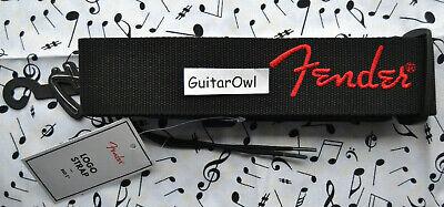 Fender Black Polyester Logo Guitar Strap Black with Red Logo 099-0662-015