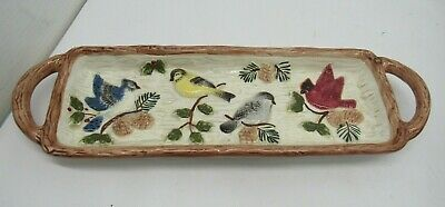 Sonoma Home Knollwood Birds Serving Dish Tray Bread Crackers Oval 15