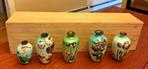 5 Antique Miniature Japanese Ginbari Foil Cloisonne Vases in Box - 3 Signed