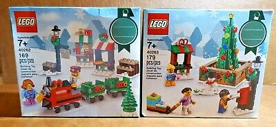 2 NEW SEALED LEGO Limited Edition Exclusive Christmas Scene Train / Tree ~ RARE