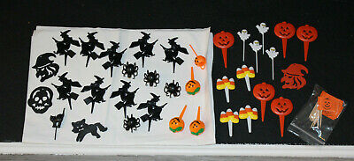 Halloween Pumpkin Decorated Cakes (LOT #4 Vintage Plastic Halloween Cake Topper Pumpkin Spider Ghost Cat Witch)