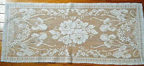 Old Victorian runner irises flowers  filet net hand knotted darned linen panel