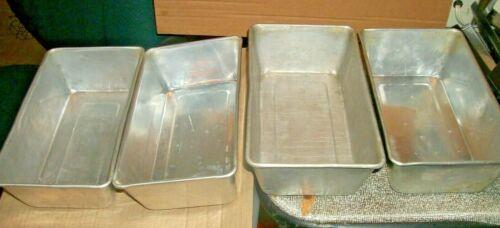 """4 Vintage Aluminum Bread Loaf/Meatloaf Pans 9 5/8"""" X 5 1/2"""" X 2 3/4"""" Unbranded"""