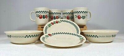 Corning Farm Fresh Homemade Apple Motif Vintage Bowls, Mugs, Dessert Plates