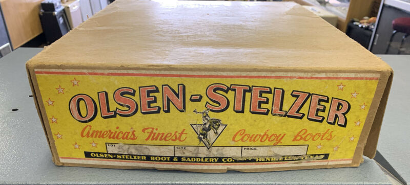 Vintage Olsen-Stelzer Western Cowboy Boots Original Box