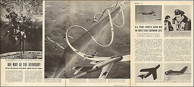 1950 Korean War Article RED JETS ATTACK US BOMBERS , First Mig shot down 053017